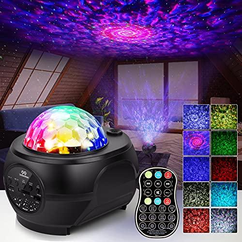 Proyector Estrellas, Lampara Estrella Infantil Proyector Galaxia con Altavoz Bluetooth Control Remoto 32 Modos de Iluminación Para Fiestas y Decoración del Hogar