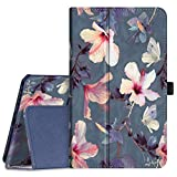 Fintie Folio Case for Samsung Galaxy Tab A 8.0 2019 Without S Pen Model (SM-T290 Wi-Fi, SM-T295 LTE), [Corner Protection] Slim Fit Premium Vegan Leather Stand Cover, Blooming Hibiscus
