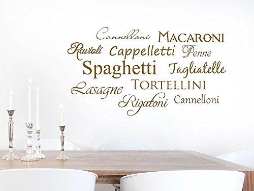 GRAZDesign Küchendeko Dekorfolie Italien, Wandgestaltung Küche Spaghetti, Wandtattoo Küche Restaurant / 90x50cm / 073 dunkelgrau