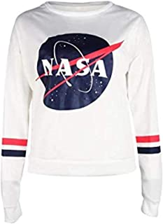 Women's Long Sleeve Casual Sweatshirt NASA Letter Print Pullover Blouse Crop Top
