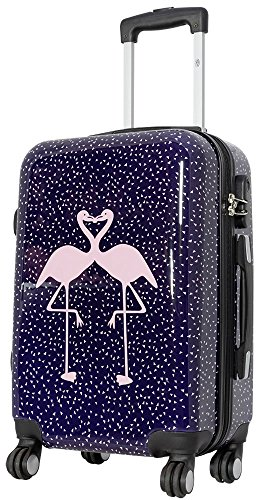 Trendyshop365 Hartschale Handgepäck Koffer Pink Kissing Flamingo 57 cm 38 Liter 4 Räder bunt