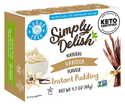 Simply Delish Natural Instant Vanilla Pudding - Sugar Free, Non GMO, Gluten Free, Fat Free, Vegan, Keto Friendly - 1.7 OZ (Pack of 6)