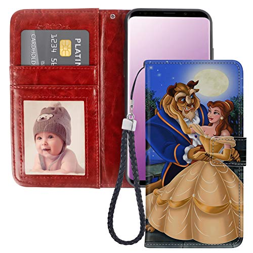 DISNEY COLLECTION Beauty and The Beast Wallet Case for Samsung Galaxy S9 Plus with Kickstand Card Holder and Wrist Strap Folio Flip Wallet Case