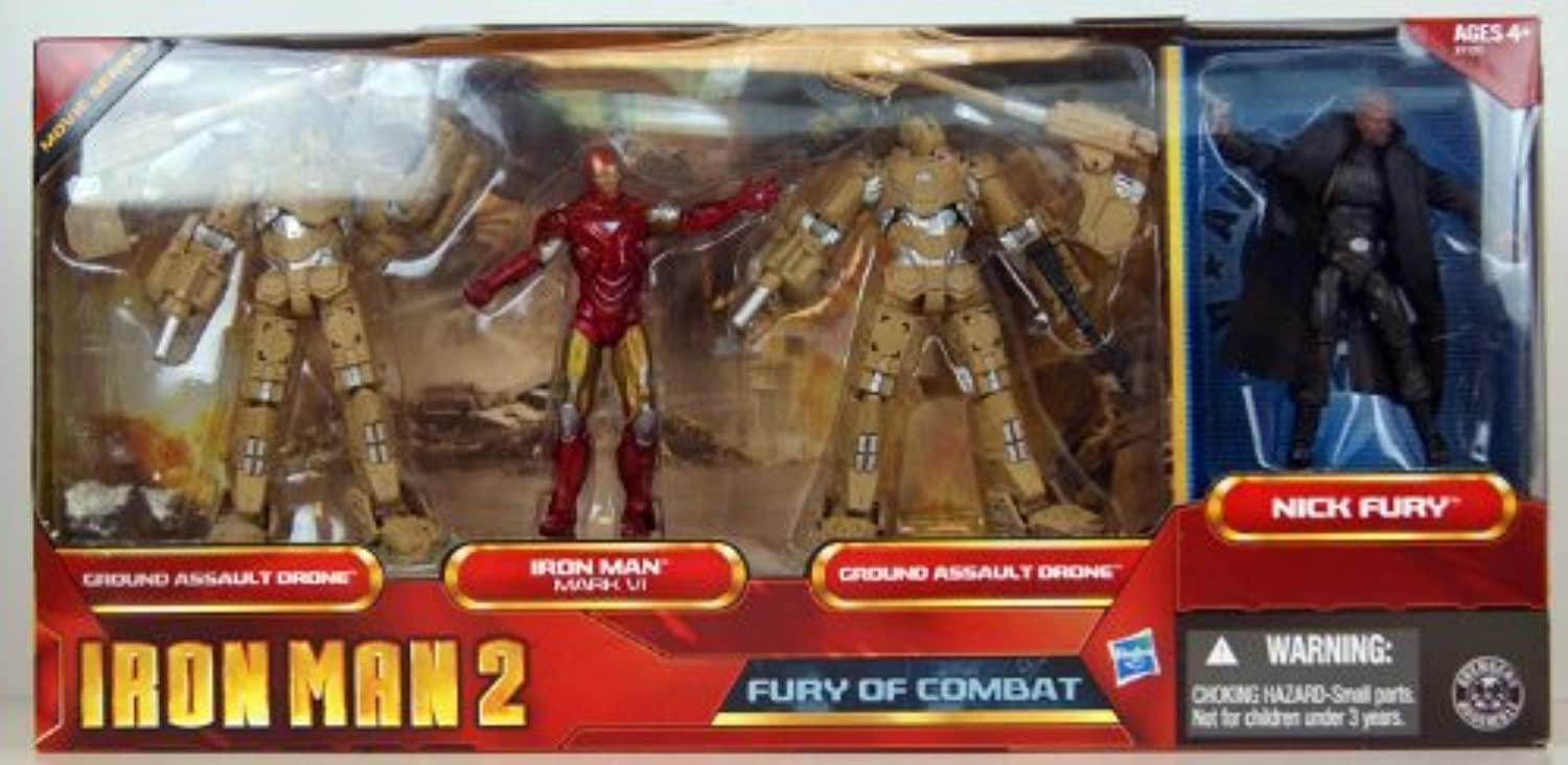 Iron Man 2 Movie Series Exclusive 3.75 Inch Action Figure 4Pack Fury of Combat Ground Assault Drone, Iron Man Mark VI, Ground Assault Drone Nick Fury by Hasbro