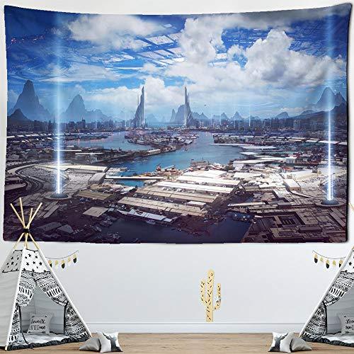 Tapiz de construcción industrial futuro para colgar en la pared ciencia ficción misterio arte bohemio dormitorio decoración del hogar tela poliéster tapiz