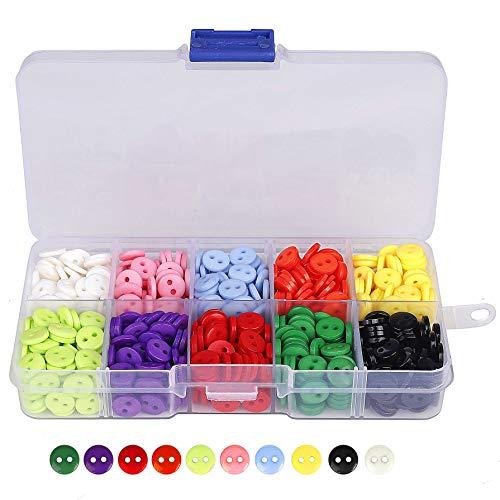Botones Costura de 10 Colores Botones Redondo de Resina con Caja de Plástico para manualidades de DIY Coser Artesanía 9mm 750 unidades
