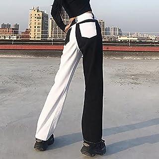 بناطيل جينز حريمي من Chenkaifang Street wear Patchwork Denim - بنطلون جينز نسائي عالي الجودة بخصر واسع - بناطيل غير رسمية...