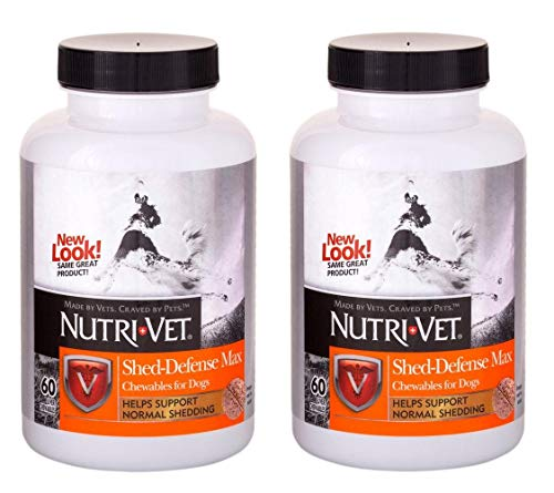 Nutri-Vet 2 Pack of Shed-Defense Max Chewables for Dogs, 60 Count Each