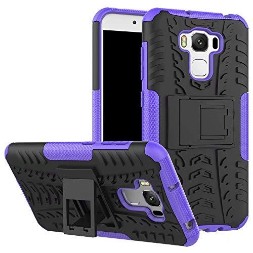 Smfu Funda Compatible ASUS Zenfone 3 MAX ZC553KL 5.5 Carcasa Rugged Híbrido Resistente Absorción Anti-arañazos Funda Absorción Impactos con Pie De Apoyo Caja [con Mica 2Unidades]-Púrpura