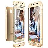 CE-LINK Housse Etui Samsung Galaxy J7 2017, Coque Non Slip Surface & Electro Placage Texture - Or