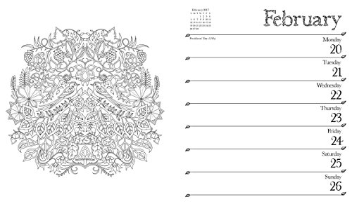 Johanna Basford 2016-2017 16-Month Coloring Weekly Planner Calendar