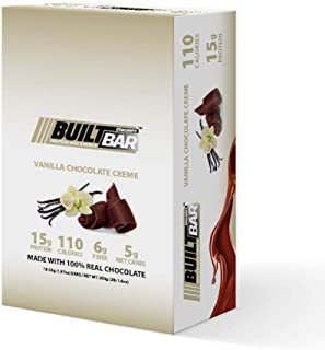 Built Bar 18 Pack Energy and Protein Bars - 100% Real Chocolate - High in Whey Protein and Fiber - Gluten Free, Natural Flavoring, No Preservatives (Vanilla)