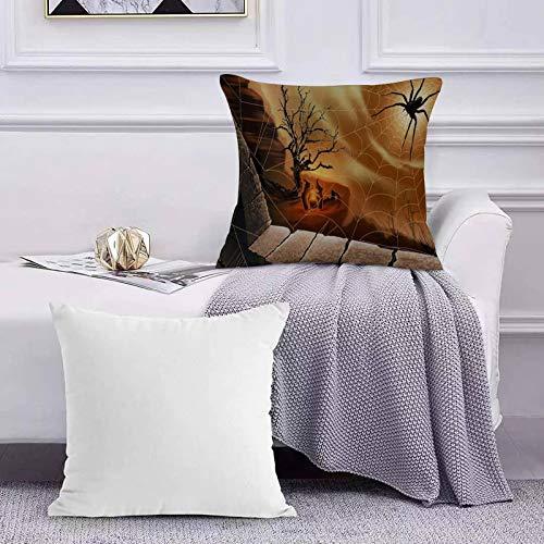 Carré Décoratif Taie d'oreiller Canapé Housse, Toile d'araignée Halloween Spirit,Coussin Coton Décoration Maison pour Chambre Salon Bureau 45x45cm