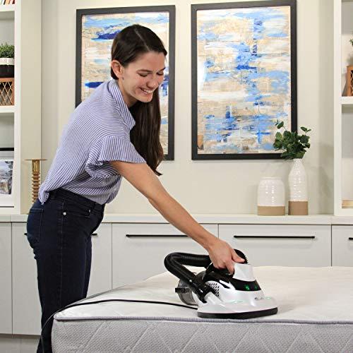 LivePure Ultramite UVC HEPA Allergen Vacuum & Fabric Sanitizer Effectively Removes Dust Mites, Bacteria, Viruses on Bedding, Mattress, Furniture, Upholstery, White