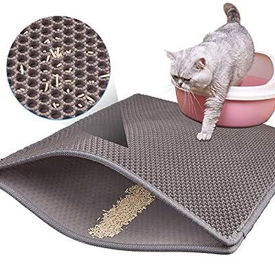 Aerb Cat Litter Mat, 70 * 50cm Double Layer Honeycomb Design Cat Litter Box Mat, Waterproof Easy Clean EVA Material (Grey)