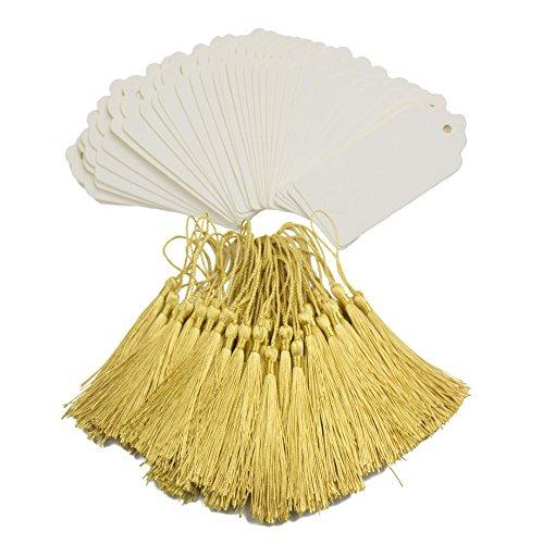 Makhry 100 Unids Importado Vintage Marcadores de Papel Kraft Duro Etiquetas de Regalo de Papel Favor de la Boda Bonbonniere Favor con Borlas Sedosas Hechas A Mano (Blanco y Oro)
