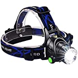 BSITFOW Rechargeable Water and Drop Resistant Hands-free Flashlight LED Head Torch