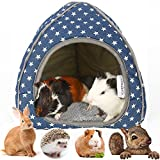 YOGURTCK Large Guinea Pig Hideout, Hedgehog House, Warm Nest Bed for Dwarf Rabbit and Other Small Animals Cage Cave Pet Supplies - Blue