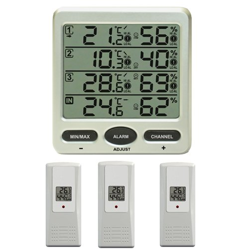froggit Funk Thermometer FT0073 mit 3 Thermo-Hygrometer Funksensoren Luftfeuchte LCD Display Min/max
