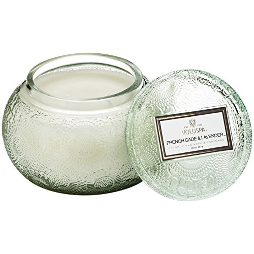 Voluspa French Cade and Lavender Embossed Glass Chawan Bowl Candle, 14 Ounces