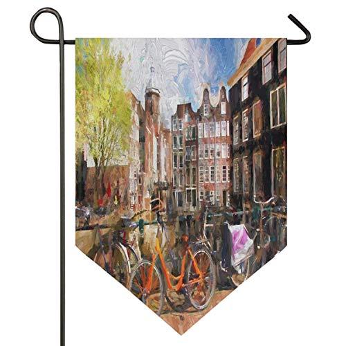 VLOOQ-HX Amsterdam Fahrradhäuser über River City Frühlingslandschaft Malerei Garten Flagge doppelseitige Home Yard Decor Banner im Freien 12,5 x 18 Zoll