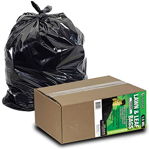 Aluf Plastics - AM LAWN AND LEAF Lawn and Leaf Bags by Ultrasac - 39 Gallon Garbage Bags (HUGE 100 Pack /w Ties) 43' x 33' Heavy Duty Industrial Yard Waste Bag - Professional Outdoor Trash Bags for Contractors and more, Black, 1 -(Pack of 100) (769646)