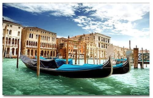 XXUREJK Rompecabezas de Papel 1000 Piezas Venecia Canoa Viaje Paisaje Urbano Rompecabezas Juguetes educativos para Adultos Regalo de cumpleaños 38X26 CM