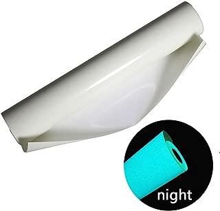FIGHTA 10 Inches x 5 Feet Glossy Adhesive Craft HTV Vinyl for T-Shirts Glow in Dark Heat Transfer Vinyl Roll for Heat Press (Blue Glow)