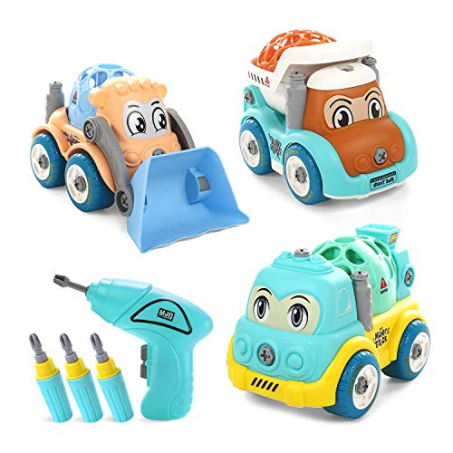 Take Apart Toys, CUTE STONE Construction Truck Cartoon Vehicle Cars Toys Gift for Boys Girls 3 4 5 6 Years Old, Kids Stem Building Toy Set, DIY Engineering Learning Educational Toy with Electric Drill