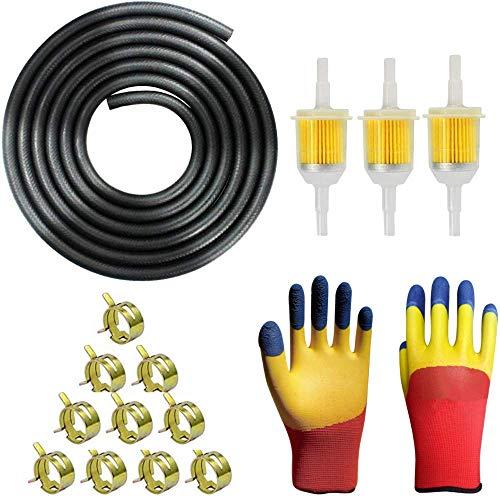 Benzinfilter Benzinschlauch Kit,5mm Kraftstoffleitung 2M/ Benzinfilter 5mm 3 Stück/Schlauchschellen 10 Stück/Hergeben-Ein Paar Handschuhe