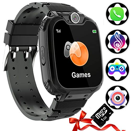 1,54''Kinder Uhr Telefon Smart Watch (SD-Karte Inklusive), Jungen & Mädchen Kamera Smartwatch mit Calling Music Player SOS Spiele und Musik-Player, Full Touch Digital Wrist Watch 3-12y
