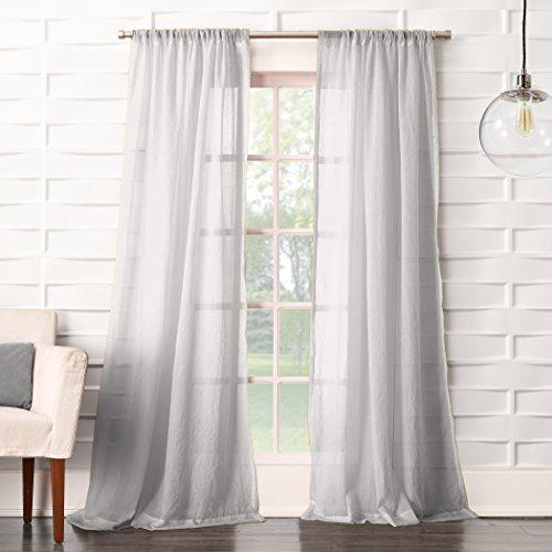 "No. 918 16871 Tayla Crushed Texture Semi-Sheer Rod Pocket Curtain Panel, 50"" x 84"", Gray"