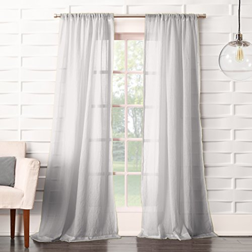 "No. 918 16872 Tayla Crushed Texture Semi-Sheer Rod Pocket Curtain Panel, 50"" x 63"", Gray"