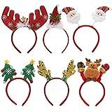 Makone Bandeaux de Noël fête,Serre-têtes de Noël pour Femmes Enfants et Adultes, Bandeaux de Noël à Thème (6 PCS)