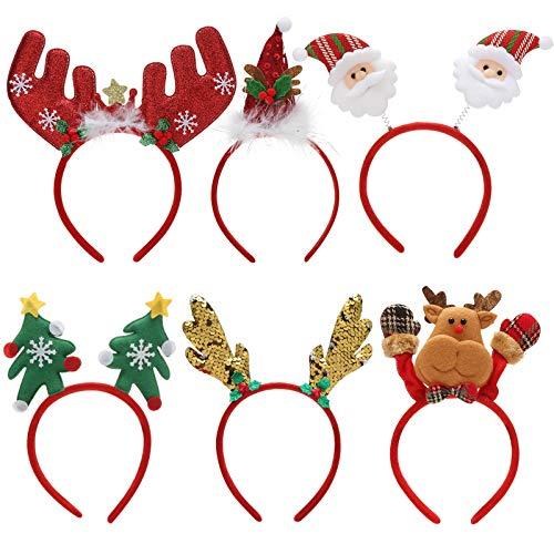 Makone Cerchietti Natalizi, Costume Nastri per Capelli Elfi Cappelli da Festa Accessori Regali per le Vacanze di Natale (6 PCS)