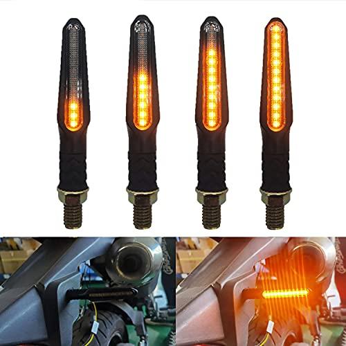 Greluma 4 Piezas Motocicleta 12 LED Indicadores intermitentes que fluyen Luz de giro ámbar 12V Mini intermitente a prueba de agua (Nueva versión)