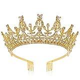 Didder Crowns For Women Rhinestone Crown Tiara, Tiaras and Crowns for Women, Tiaras for Girls Gold Crown for Girls Elegant Princess Crown Tiara with Combs Wedding Bridal Tiara Birthday Prom Party
