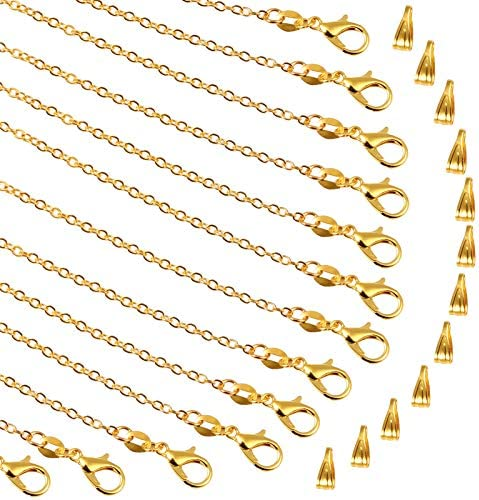 PP OPOUNT 30 Pieces Necklace Chains Gold Plated Necklace Bulk Cable Chain and 30 Pieces Pinch product image