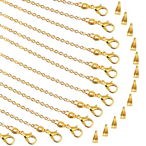 PP OPOUNT 30 Pieces Necklace Chains Gold Plated Necklace Bulk Cable Chain and 30 Pieces Pinch Clasp Bails for Jewelry Making (18inch/ 1.8mm)
