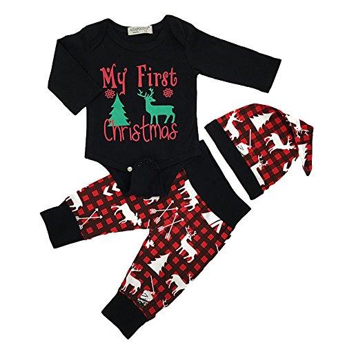WFZ17 3-teiliges Unisex Baby-Outfit, Jungen und Mädchen, Weihnachtsmotiv mit Hirsch-Motiv, langärmlig, Strampelhose, Mütze, Kleidungsset