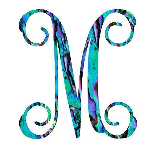 Letter M Monogram Initial Vinyl Decal | Personalized Monogrammed M Sticker for Yeti Cup Tumbler, Laptop, Water Bottle, or Car Window Accessories for Women | 3.25 inches, Abalone Pattern