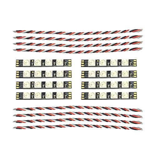PandaRC Programmable RGB LED 8 Pack / 2 Sets FPV Drones LED Lights 5V WS2812 Quadcopter Frame Arm LED Board with 4 Lamp Beads LED Strip Module for FPV Racing Drone