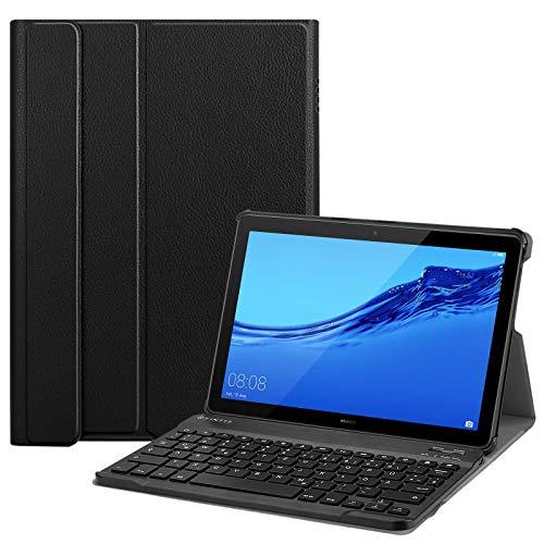 Fintie Bluetooth QWERTZ Tastatur Hülle für Huawei MediaPad T5 10 - Ständer Schutzhülle mit Magnetisch Abnehmbarer Drahtloser Deutscher Bluetooth Tastatur für Huawei T5 10.1, Schwarz