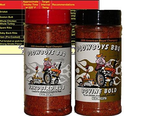 Plowboys Championship Barbecue BBQ Dry Rub Bundle (Yardbird 14 oz and Bovine Bold 12 oz) with Miniature Meat Smoking Guide Magnet