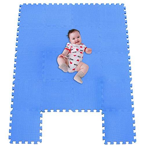 MSHEN 18 Stück Puzzlematte | Kälteschutz,abwaschbar Kinderspielteppich Matte | puzzlematte Baby | Trainingsmatte.Größe 1,62 Quadrat.Blau-07g18