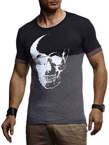 Leif Nelson Herren Sommer T-Shirt Rundhals-Ausschnitt Slim Fit Baumwolle-Anteil Basic Männer Totenkopf T-Shirt Crew Neck Hoodie-Sweatshirt Kurzarm lang LN4795 Schwarz Large