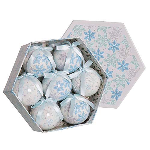 Set de 7 Bolas de Navidad en Caja Hexagonal de polyfoam Azul de Ø 7 cm - LOLAhome