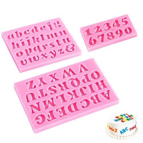 Daimay - Molde de silicona con letras y números en mayúsculas para decorar tartas, chocolate, galletas, cubitos de hielo, juego de herramientas de decoración para fondant, moldes de jabón, 3 piezas