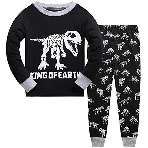 Schlafanzug für Jungen, leuchtet im Dunkeln, Dinosaurier-Pyjama, langärmelig, Baumwolle, für Kinder im Alter von 3–10 Jahren Gr. 6-7 Jahre, Schwarz-Weiß 01