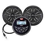 Marine Audio System Stereo Speaker Package, Bluetooth, MP3 USB DAB+ AM FM Marine Stereo - 2 x 6.5 Inch Black Speakers, Antenna